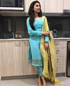 Class is in simplicity Nimrat khaira in our label looking very elegant and classy . You all can order this costume now! Hurry limited editions ✌️️✌️️✌️️ No filter pictures Indian Suits, Indian Attire, Indian Dresses, Indian Wear, Designer Punjabi Suits, Indian Designer Wear, Punjabi Fashion, Indian Fashion, Ethnic Fashion
