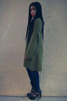Long-sleeved Sweater Dress + Jeggings + Platform Sandals