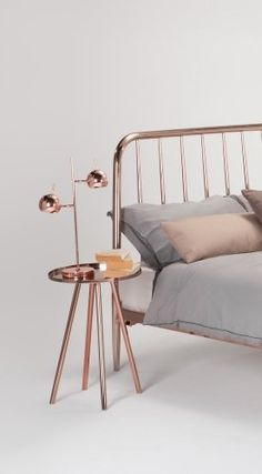 The Alana Bed and Side Table in Copper. Perfect for adding a rosy glow for a bold statement look. £449   MADE.COM