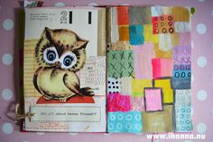 Art Journal detail: Owl + Quilt painted grid by iHanna of www.ihanna.nu #mixedmedia #artjournaling