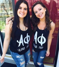 Alpha Phi sorority letters black and white tank top shirt merchandise  -Designed by Idaho Alpha Phi