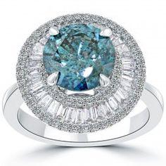 4.16 Carat Fancy Blue Diamond Engagement Ring 14k Gold Pave Halo Vintage Style