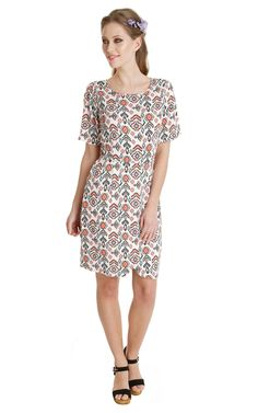 445 Flick Up Dress Ivory With Coral Totem - SilkFred