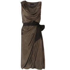 Layla Dress ($305) ❤ liked on Polyvore featuring dresses, haljine, vestidos, women, sleeveless cotton dress, wet look dress, cotton dress, draped dress and shining dress