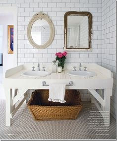 rustic bathroom. two different mirrors is a unique idea