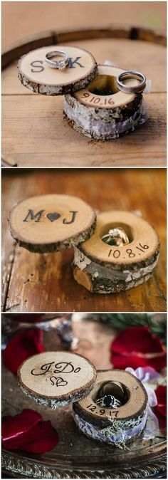 rustic tree stump wedding ring holder ideas / www.deerpearlflow... #rustic #rusticwedding #countrywedding #weddingideas #wedding #dpf #deerpearlflowers #weddingring #weddingrings