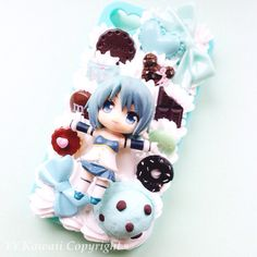 Custom Puella Madoka Magica decoden case available at https://www.etsy.com/uk/shop/YYKawaii?ref=si_shop  Anime, manga, sayaka miki