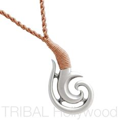 MOKO Maori Koru Tribal Tattoo Beach Necklace meaning Watched Over and Guided Through Life. This silver New Zealand Maori koru pendant hangs from hand-braided waxed cotton cord using ancient Polynesian knot tying techniques. Surf Necklace, Necklace Tattoo, Tribal Necklace, Men Necklace, Leather Necklace, Popular Necklaces, Unique Necklaces, Ethnic Jewelry, Jewellery
