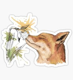 Fox with a flower Sticker