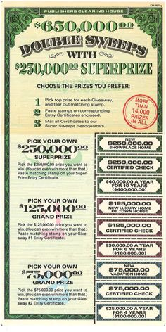 "Deborah Holland Executive Vice President from Publisher's Clearing House shared this for ""Throwback Thursday"" Today ! ""Simply Awesome"" (Smiles)..... Throwback Thursday: Back in 1982, #PCH promoted a Double Sweeps with $250,000 SuperPrize and offered Top Prize Choices. Even though the price of homes has changed since then, what Top Prize would you choose -- A Showplace Home, Certified Check or $40,000 A Year for 10 Years?"