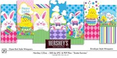Printable Hershey Easter Bunny Wrappers - DAISIE COMPANY: Clipart, Printables, Graphics, DIY Crafts for Kids, Parties, Candy Wrappers, by artist Gina Jane for DAISIECOMPANY
