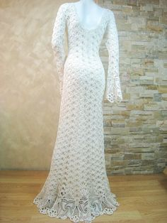 Exclusive ivory crochet wedding dress handmade by LecrochetArt
