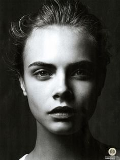 """ Cara Delevingne in ""Fade to black"" by Simon Emmett for Wonderland, September 2011 "" Foto Portrait, Portrait Studio, Female Portrait, Dark Portrait, Side Portrait, Black And White Portraits, Black And White Photography, Low Key Photography, Fashion Photography"