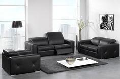 Salon, canapé, cuir, noir