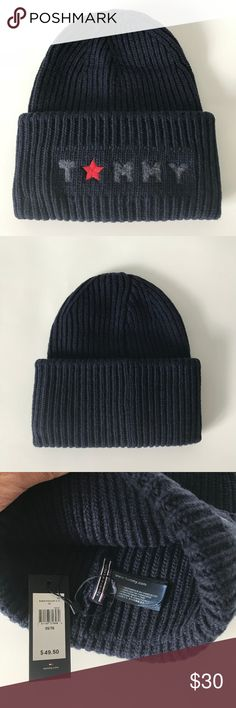 NWT Tommy Hilfiger Navy Blue Beanie One size fits all; brand new with tags.  Measures 10.5 inches from top to bottom!  23% wool (also made of acrylic, polyester, viscose, and nylon blend). Tommy Hilfiger Accessories Hats