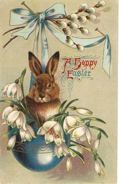 Happy Easter Rabbit among flowers vintage by sharonfostervintage, $3.50