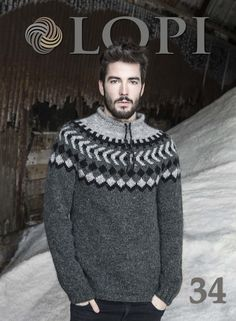 Icelandic Pattern Wool Sweaters and Accessories. Most hand knitted wool products offers by Nordic Store can by found on one of the knitting pattern books, and many more modern and traditional designs. The wool yarn can also be bought from Nordic Store. Nordic Pullover, Nordic Sweater, Grey Sweater, Icelandic Sweaters, Wool Sweaters, Sweater Knitting Patterns, Knitting Designs, Knitting Wool, Fair Isle Pullover