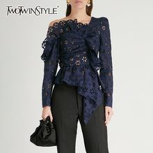 There is always many products on sae upto - TWOTWINSTYLE Lace Shirts Blouse Female Long Sleeve Off Shoulder Hollow Out Asymmetrical Tops Female Autumn 2019 Sexy Fashion - eTrendings Crochet Ruffle, Shirt Bluse, Asymmetrical Tops, Long Sleeve Shirts, Lace Shirts, Women's Shirts, Lace Tops, Blouses For Women, Look