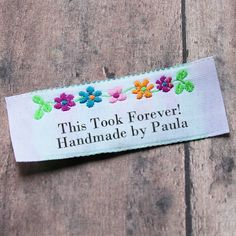 Floral Border Clothing Labels, Custom Woven Labels, Woven Labels, Flower Labels, Personalized Labels for Crafts, Fabric Labels, Labels by namemakerlabelco on Etsy https://www.etsy.com/listing/192101278/floral-border-clothing-labels-custom