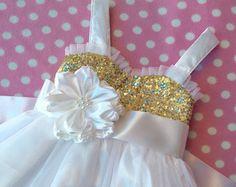 Oro lentejuelas flores vestido de niña niña de por Happy2sisters