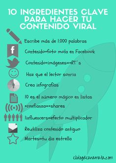 10 INGREDIENTES CLAVE PARA UN CONTENIDO VIRAL #INFOGRAFIA #INFOGRAPHIC #MARKETING