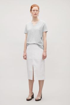 COS V-neck cotton t-shirt in Grey