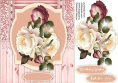 A lovely card with Burgandy and cream roses on a shaped mat has to greeting tags and  a blank one