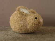 Needle Felted Bunny Resting Rabbit Wool Sculpture