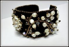 embroidered bracelet with pearls