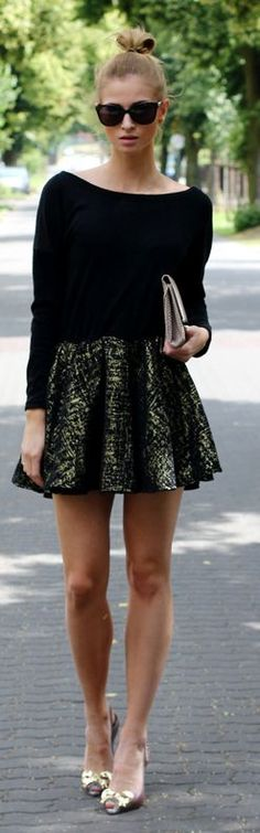 Romwe Black And Gold Glittering Skirt Boat Neckline Fit And Flare Skater Dress by Beauty - Fashion - Shopping