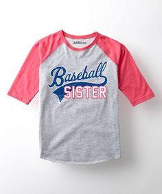 Loving this Athletic Heather & Pink 'Baseball Sister' Raglan Tee - Girls on #zulily! #zulilyfinds