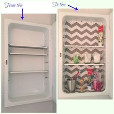 Simple makeover of the medicine cabinet for less than $2. [media_id:3482384] Inside of our medicine cabinet looked very bland. I did not want to paint it. It wo…