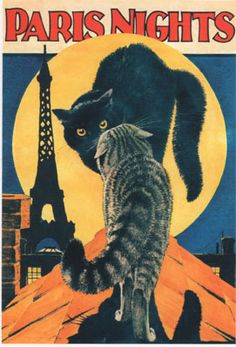 "vintage poster - illustrator unknown ~ Could change the background, rename it ""New Town Nights"" and it could easily be Hebe and her ""friend""! (36 Repins)"