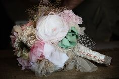 Whimsical Forever Bouquet  fabric flowers upcycled recycled vintage materials eco wedding rustic burlap