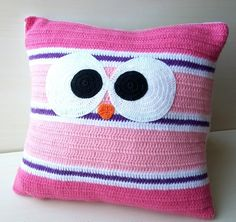 31 ideas crochet amigurumi owl hooks for 2019 Crochet Cushion Cover, Crochet Cushions, Crochet Pillow, Baby Blanket Crochet, Crochet Mittens, Crochet Baby, Crochet Hooks, Knitted Flowers, Crochet Home Decor