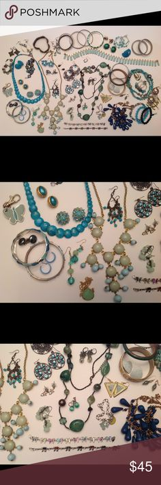 Wearable Costume Jewelry Lot - Green Turquoise Large Mixed Lot of Costume Jewelry- Vintage to Contemporary  All pieces are wearable - NO broken pieces Mixed materials All earrings have their mate Necklaces, earrings, bracelets and adjustable rings All pieces are used and show signs of wear.  Scrathes, color fading, chips to glass/plastic and warping/bending to wires, pins or necklaces, etc... Tarnishing to metals. Smoke free environment Jewelry