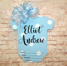 Baby Boy Birth Announcement Door Hanger Wreath, Baby Shower Nursery, Customize #byjennilee