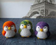 Tie Dye Trio  Felted Penguins  Set of Three by missyandme on Etsy, $43.50 gengenevieve