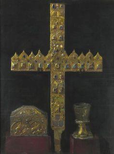 Krzyż z diademów książęcych, skrzyneczka zwana saraceńsko-sycylijską i tzw szklanica św. Jadwigi Śląskiej - Leon Wyczółkowski