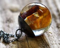 Amber Necklace, Amber Resin Pendant, Amber in Resin, Resin Sphere, Amber Pendant, Resin Jewelry, woodland necklace, resin necklace