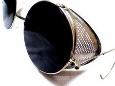 7b1b248538e3 VTG STEAMPUNK SUNGLASSES GAULTIER black lens perforated metal shields ww2  gothic