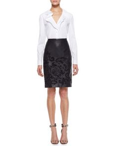 Ruffled Button-Up Blouse & Brocade Skirt by Escada at Neiman Marcus.