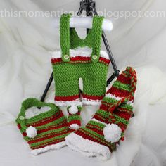 Loom Knit Santa's ELF Pattern Set:  PATTERN ONLY!  Includes pattern for Overalls, Bib, Booties and Elf Hat. 3+mos.
