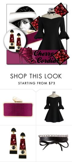 """""""Cherry Cordial"""" by trendpixie ❤ liked on Polyvore featuring Chanel, KOTUR, Chicwish, Égotique, Fallon, Tom Ford, contest, contestentry, coldshoulder and bellsleeves"""