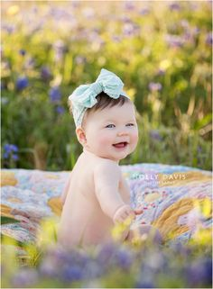 Bluebonnet Portrait Photography, Wildflower Child Pics, Baby Photography, Bluebonnets, Holly Davos Photography | The Woodlands, Texas