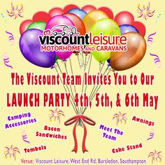 Viscount Leisure invites you all to our 🎉🍾 LAUNCH 🍾🎉 on the & May! Enjoy a l around our superb range of & Accessories and indulge in Bacon Sandwiches, Cake Stand 🍰 and a Tombola! Bacon Sandwiches, Viscount, Launch Party, Camping Accessories, Caravans, Motorhome, Product Launch, Range, Events