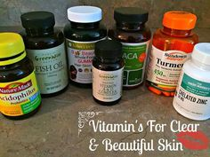Daily supplement's I take for clear skin & overall health:  Turmeric ,  Publix Greenwise Vitamin A & D complex, Publix Greenwise Fish Oil supplement, Navitas Naturals gelatinized maca capsules, Zinc, Plant sourced B-vitamins,  Whole Food Hair Skin & Nails Probiotic supplement