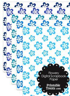 Blue Flower Digital Scrapbook Paper from PrintableTreats.com