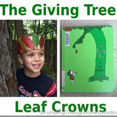 Leaf crown craft inspired by the book The Giving Tree by Shel Silverstein