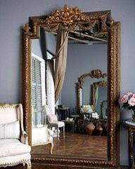 Glamorous home essential: Leaning floor mirror Interior Paint Colors, Interior Design, Interior Painting, Vintage Mirrors, Big Mirrors, Mirror Mirror, French Mirror, Giant Mirror, Huge Mirror